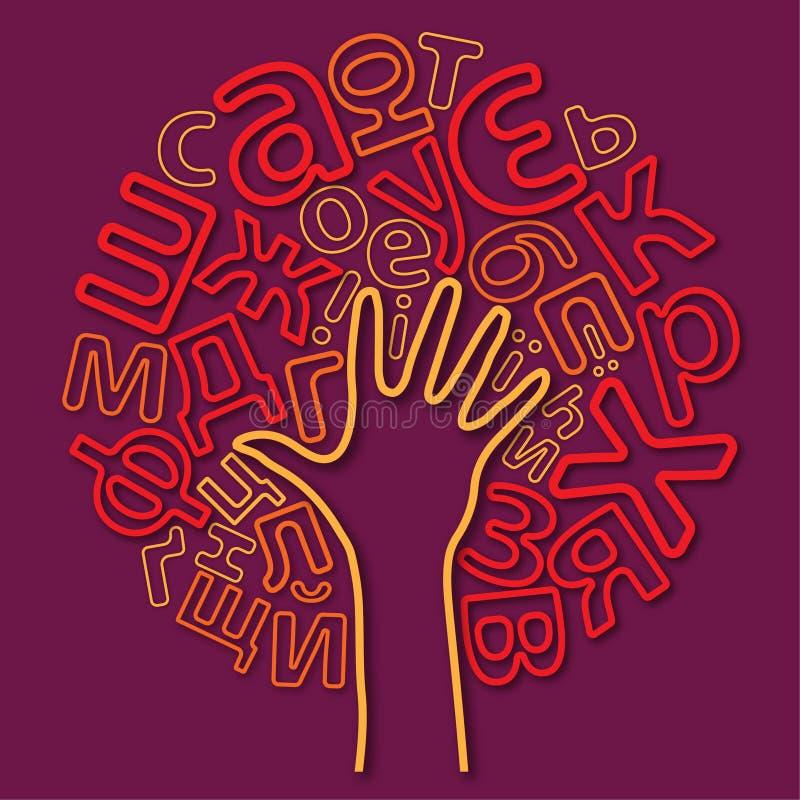 斯拉夫语字母的信件树  库存例证