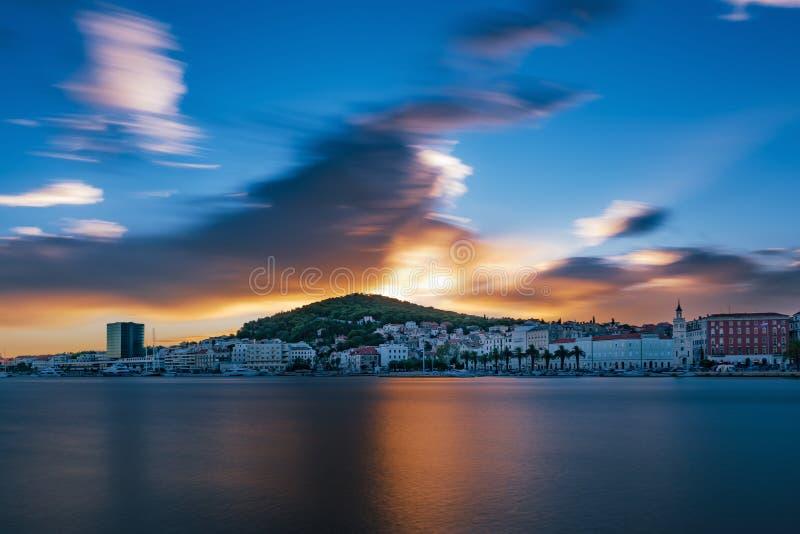 斯普利特的日落,克罗地亚 库存照片