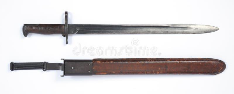 斯普林菲尔德步枪的美国WW1 M1905刺刀 免版税图库摄影