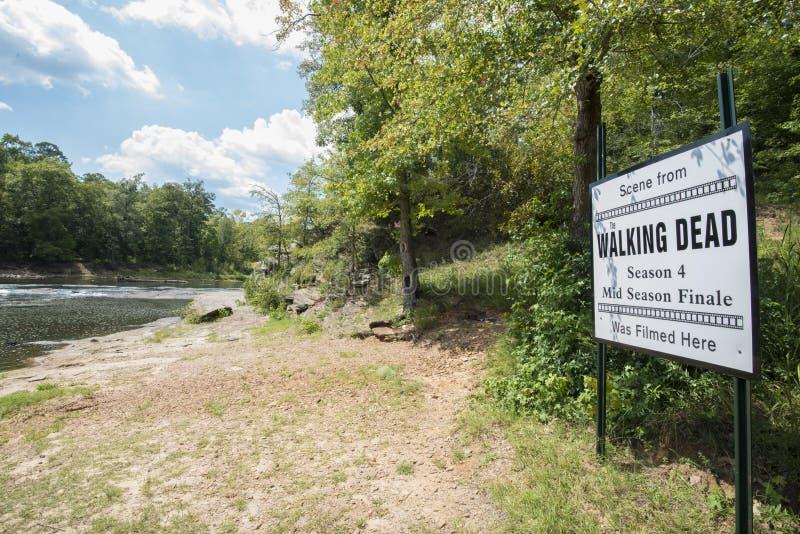 斯普雷威尔虚张声势国家公园有标志关闭角度图 免版税库存图片