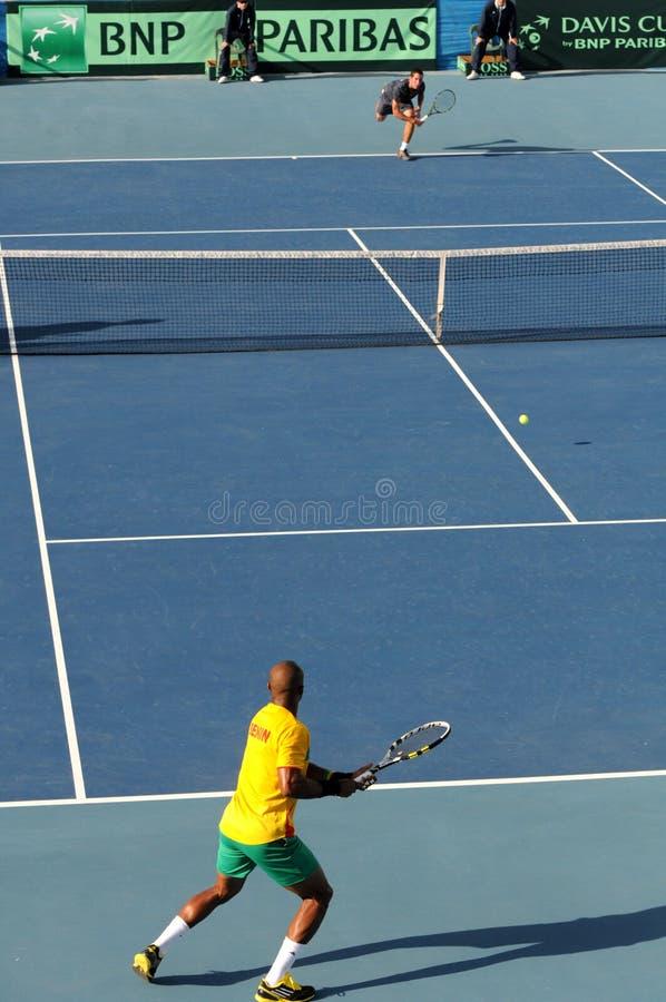 戴维斯杯在塞浦路斯和贝宁之间的网球赛 图库摄影