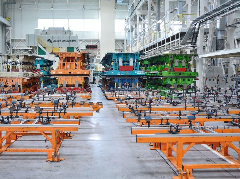 斯柯达自动工厂大厅 免版税库存图片