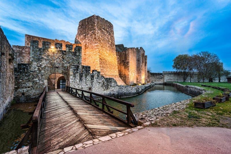 斯梅代雷沃堡垒门和桥梁 库存图片