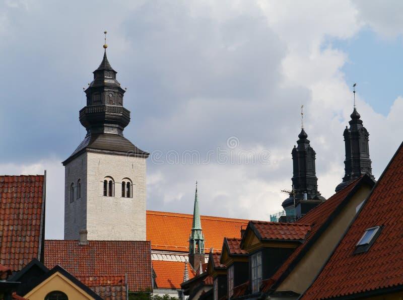 维斯比看法哥得兰岛的在瑞典 库存照片
