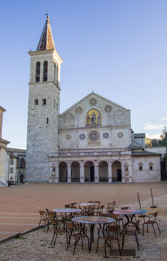 斯波莱托大教堂早晨 免版税图库摄影