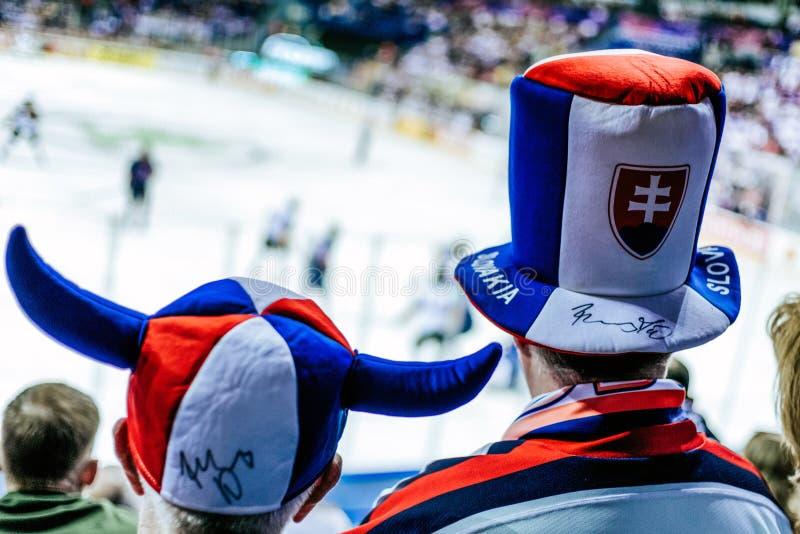 斯洛伐克冰球迷 免版税库存照片