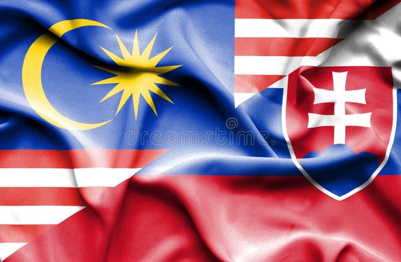 斯洛伐克和马来西亚的挥动的旗子 向量例证