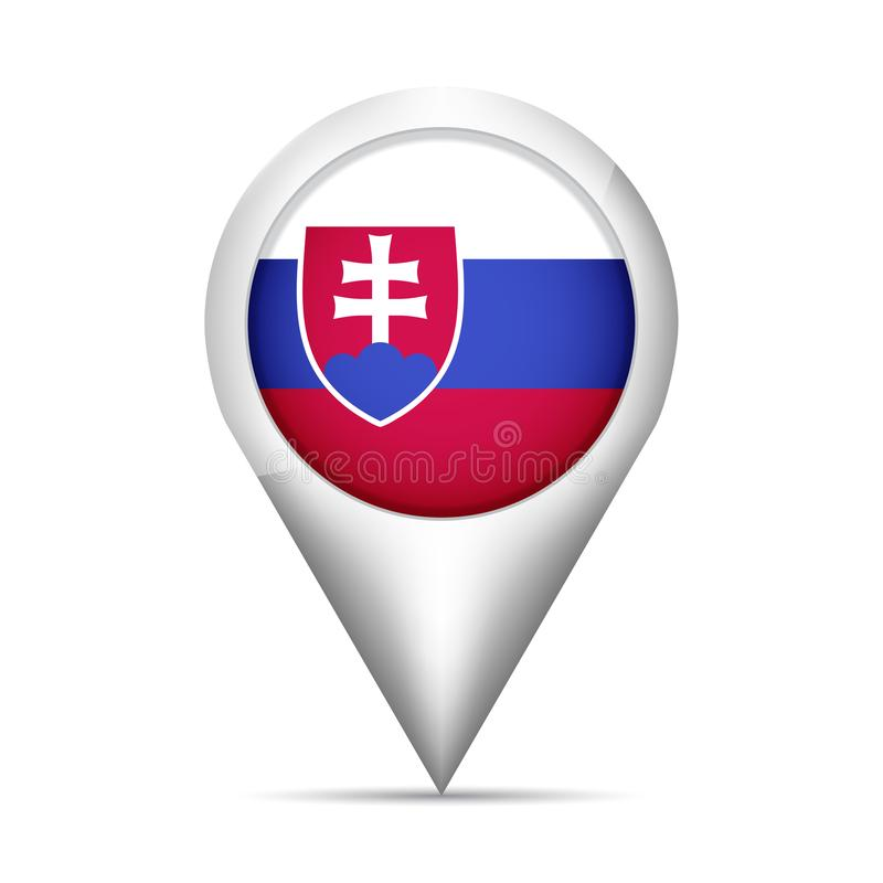 斯洛伐克旗子与阴影的地图尖 也corel凹道例证向量 皇族释放例证