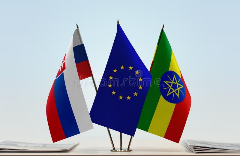 斯洛伐克欧盟和埃塞俄比亚的旗子 皇族释放例证
