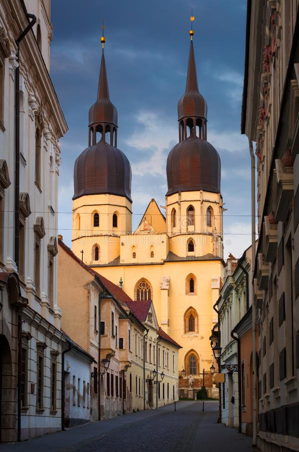 斯洛伐克特纳瓦。斯洛伐克特尔纳瓦老城圣尼古拉圣殿 库存照片