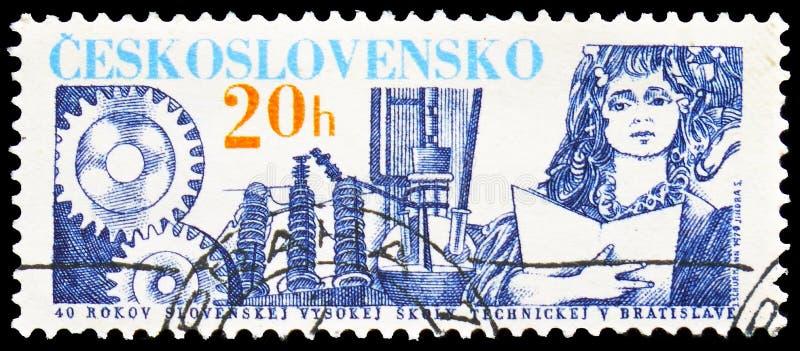 斯洛伐克科技大学在布拉索夫,第40周年,serie,大约1979年 免版税图库摄影