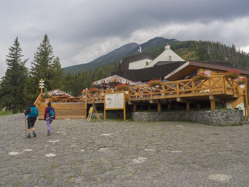 斯洛伐克,高太脱拉山,Stary Smokovec,Hrebienok,2018年9月14日:在山旅馆Hrebienok的正面图 库存图片