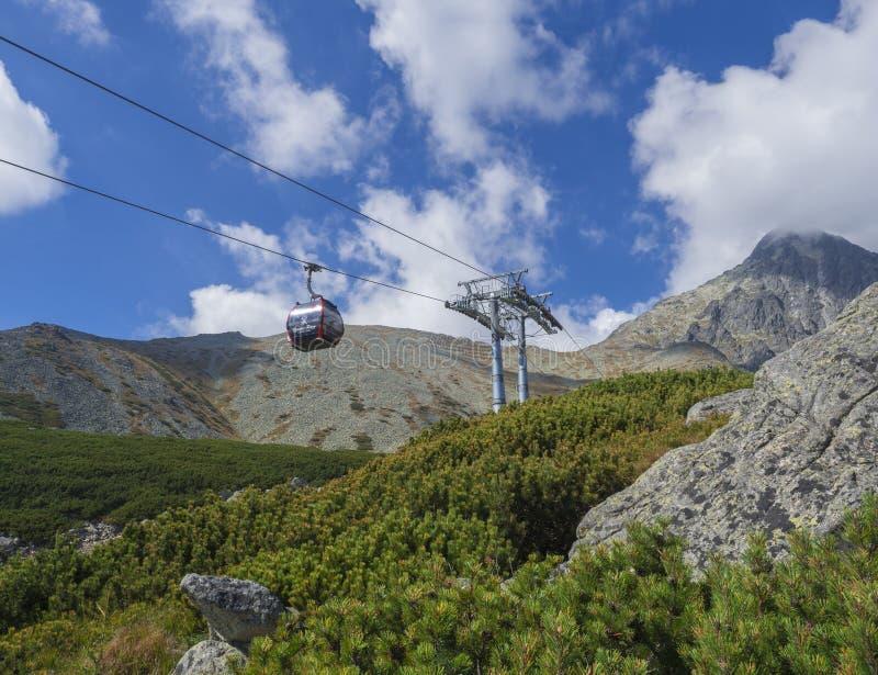 斯洛伐克,高Tatra山, 2018年9月13日:在山峰Lomnicky stit 2的看法在云彩包括的634 m与 免版税库存图片
