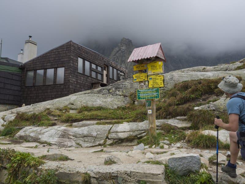 斯洛伐克,高Tatra山, 2018年9月13日:看在teryho chata山小室前面的年轻人远足者足迹路标 免版税库存图片