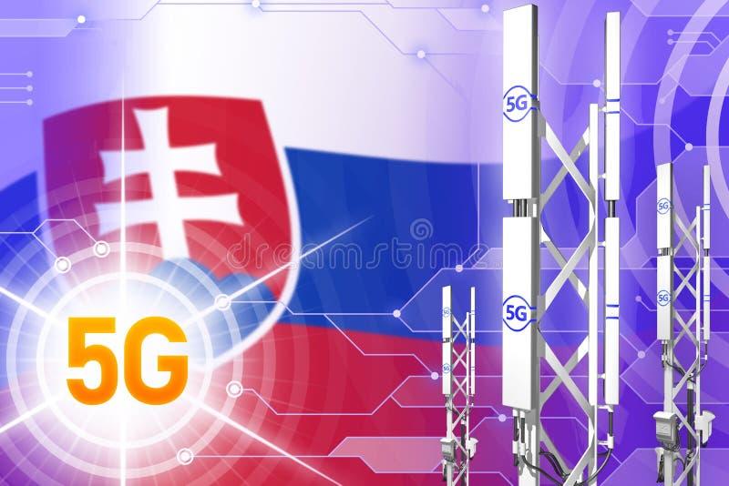 斯洛伐克5G工业例证、大多孔的网络帆柱或者塔在现代背景与旗子- 3D例证 皇族释放例证