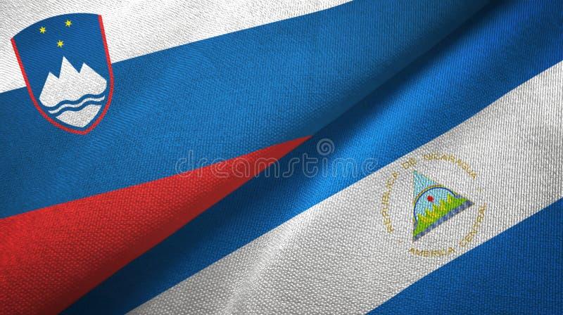 斯洛文尼亚和尼加拉瓜两旗子纺织品布料,织品纹理 向量例证