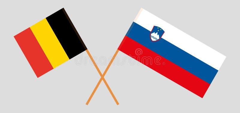 斯洛文尼亚和比利时 斯洛文尼亚和比利时旗子 E r ?? 库存例证