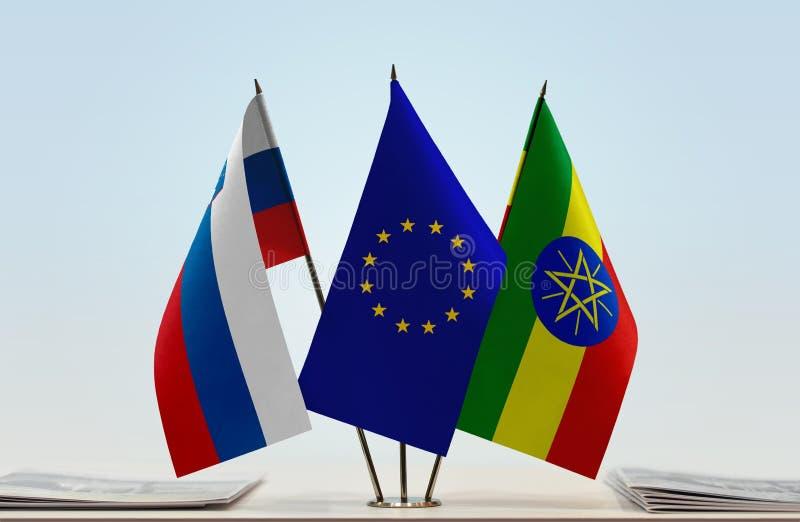 斯洛文尼亚欧盟和埃塞俄比亚的旗子 皇族释放例证