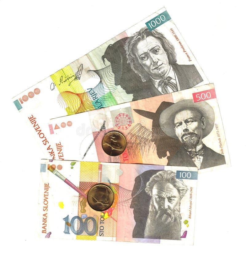 斯洛文尼亚语钞票的硬币 图库摄影
