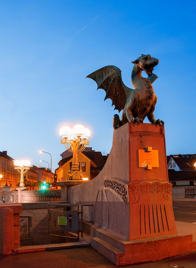 斯洛文尼亚 卢布尔雅那 Slov的首都的美好的夜视图 免版税库存照片