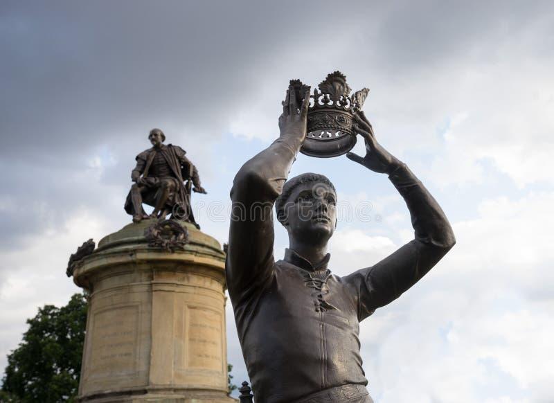 斯特拉福在Avon,英国-威廉・莎士比亚` s Hal王子雕象  免版税库存图片
