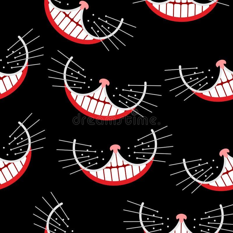 彻斯特猫微笑无缝的样式 向量背景 向量例证