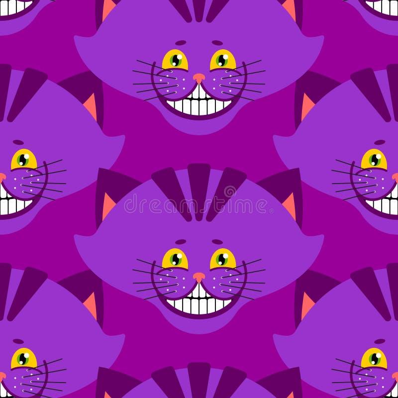 彻斯特猫微笑样式 在wonde的纹理意想不到的宠物阿丽斯 向量例证