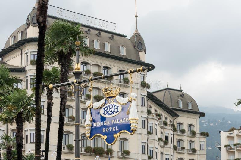 斯特雷萨,意大利欧洲- 9月17日:华丽雷日纳华园大饭店 库存照片