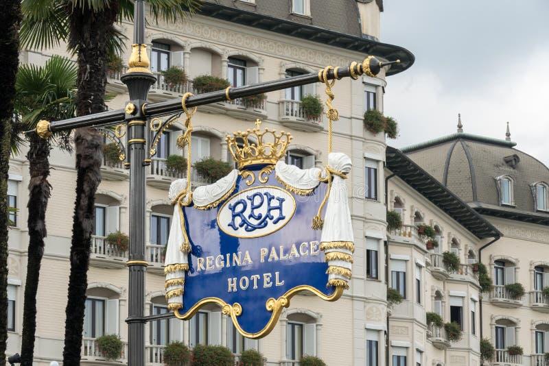 斯特雷萨,意大利欧洲- 9月17日:华丽雷日纳华园大饭店 免版税库存图片