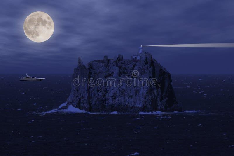 斯特龙博利岛海岛和游艇。 免版税库存图片