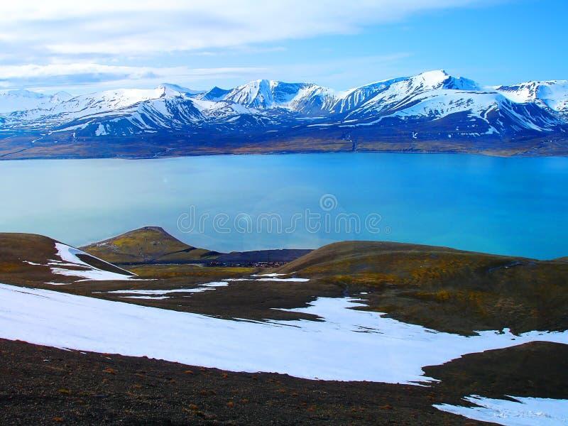 斯瓦尔巴特群岛 从登上奥拉夫的看法 挪威 旅游路线 库存照片