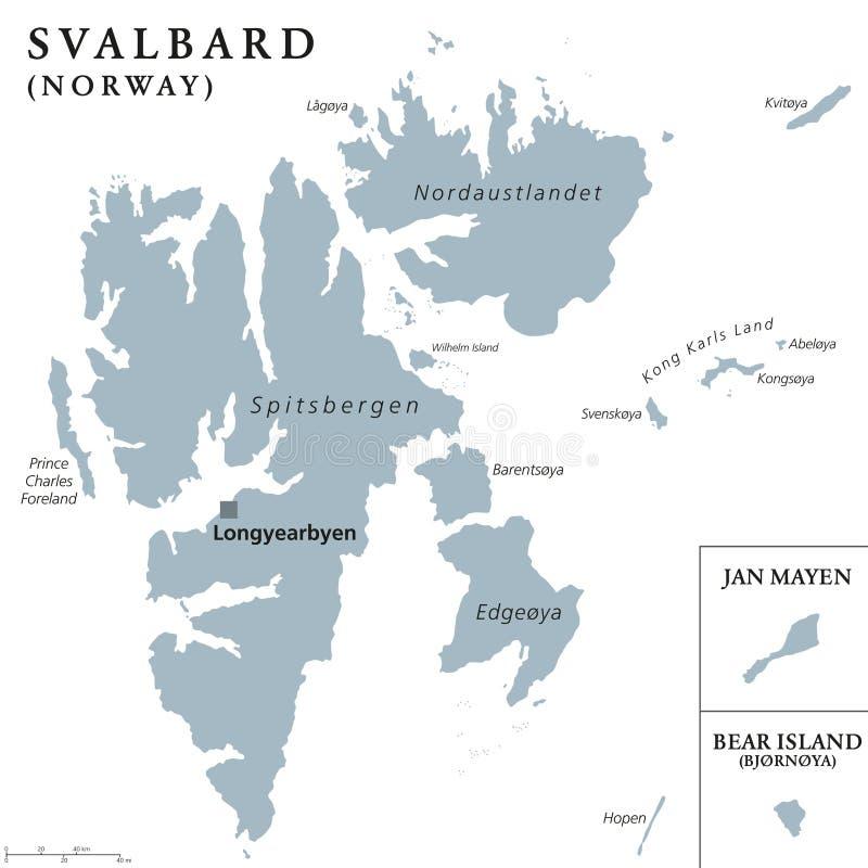斯瓦尔巴特群岛、扬马延岛和熊岛政治地图 向量例证