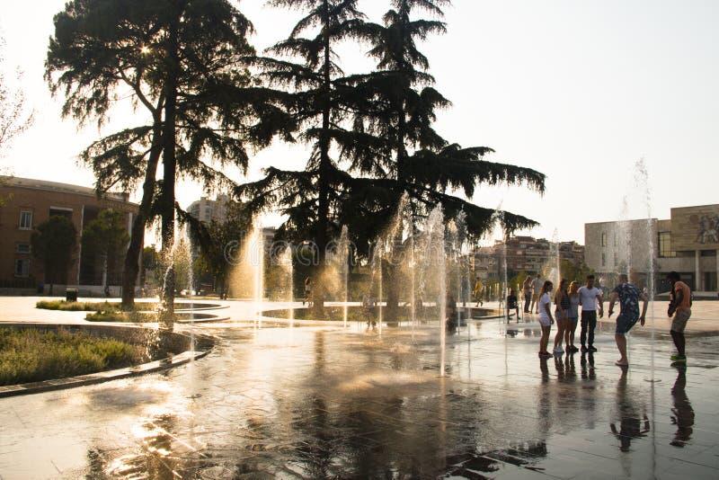 斯甘德伯广场在地拉纳,阿尔巴尼亚 库存照片