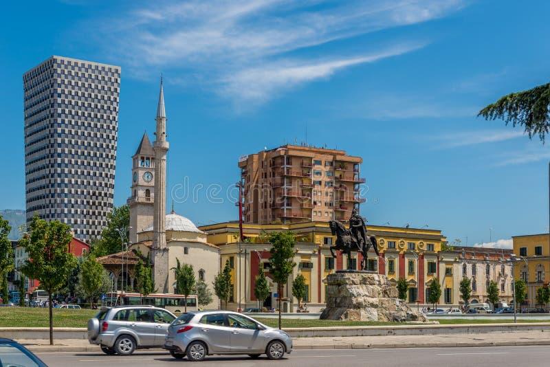 斯甘德伯广场在地拉纳 免版税库存图片
