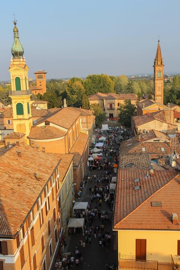 斯皮兰贝尔托,意大利的历史的中心 从堡垒的顶视图 免版税库存图片