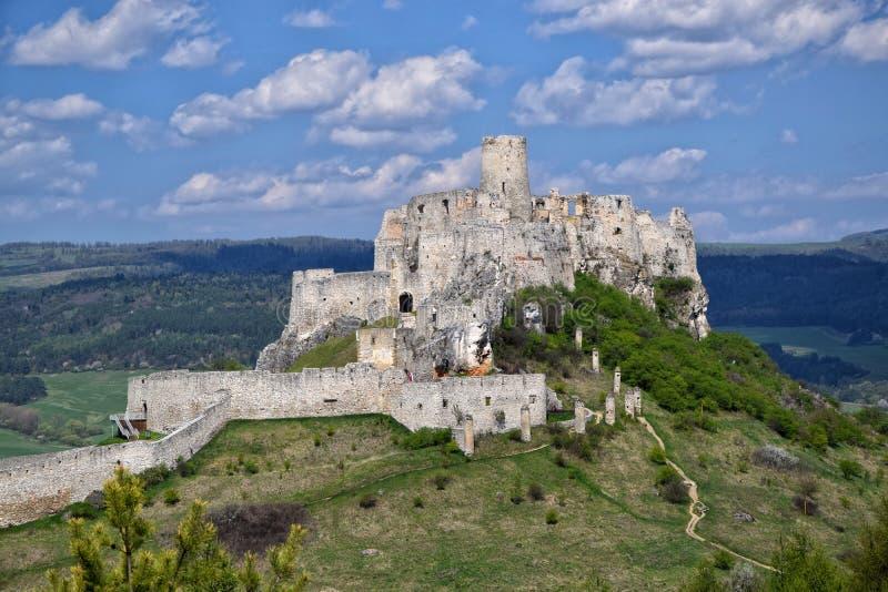 斯皮城堡,斯洛伐克古老废墟夏天阳光天 免版税库存图片