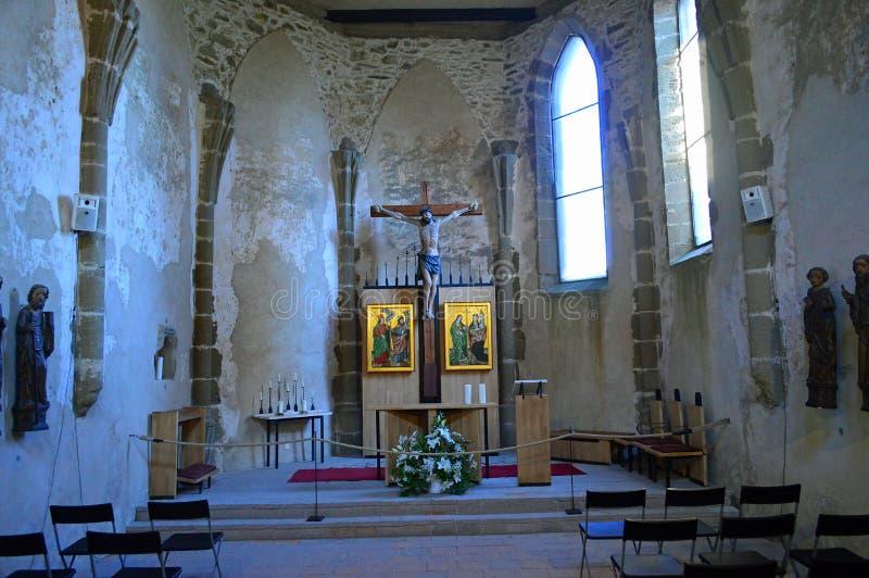 斯皮城堡SpiÅ ¡ skà ½ hrad内部视图-教堂 免版税库存照片