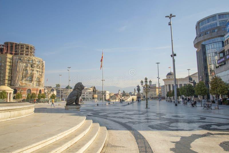 斯科普里马其顿广场景观 免版税库存照片