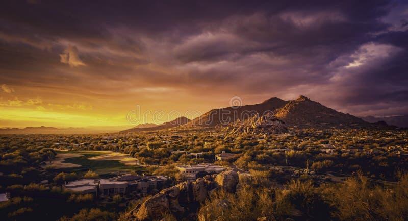 斯科茨代尔亚利桑那沙漠风景,美国 库存照片