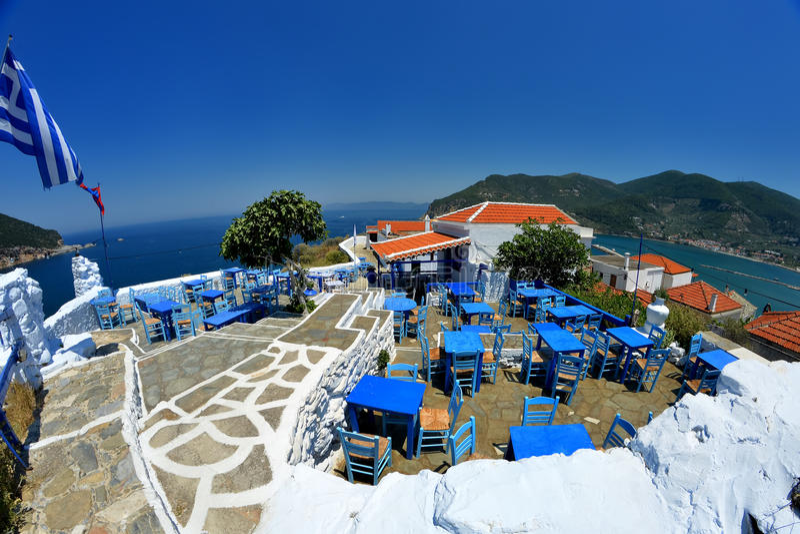 斯科派洛斯岛希腊 免版税图库摄影