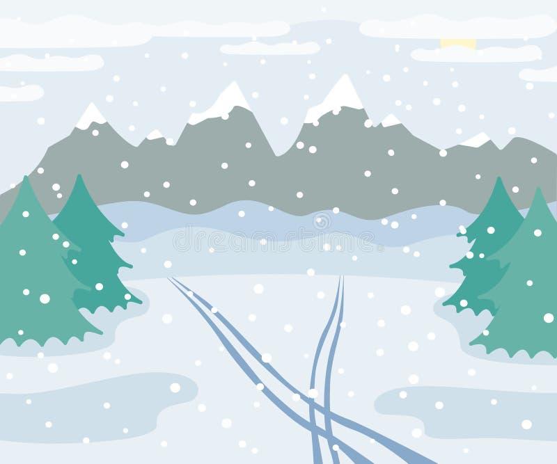 斯诺伊冬天山环境美化与在雪的滑雪轨道,云杉的树、森林和小山,冬天室外视图与 向量例证
