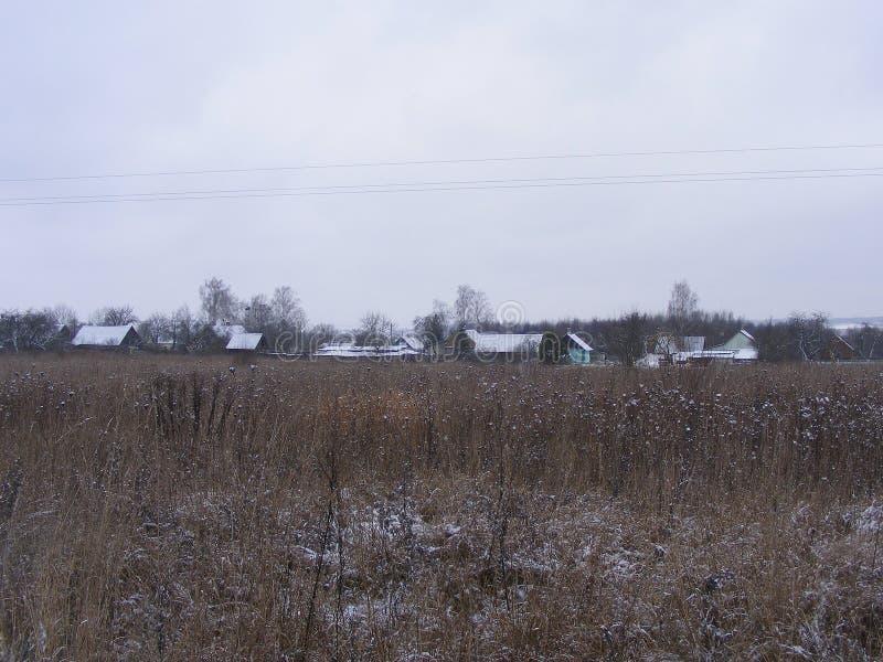 斯诺伊冬天户外 传统木俄国房子村庄生活方式设计的 库存图片
