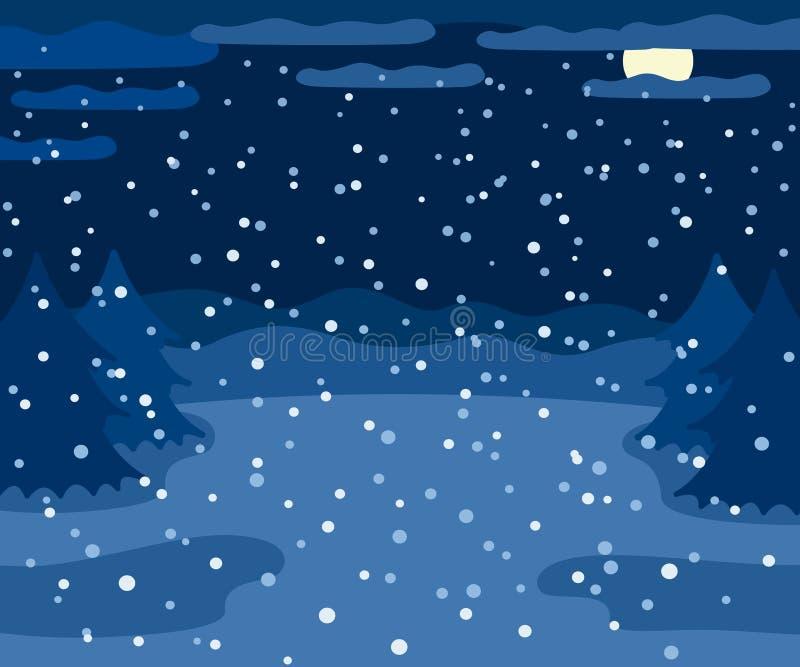 斯诺伊冬天风景在晚上,与云杉的树的冬天室外视图,月亮和雪,乡下夜自然 库存例证