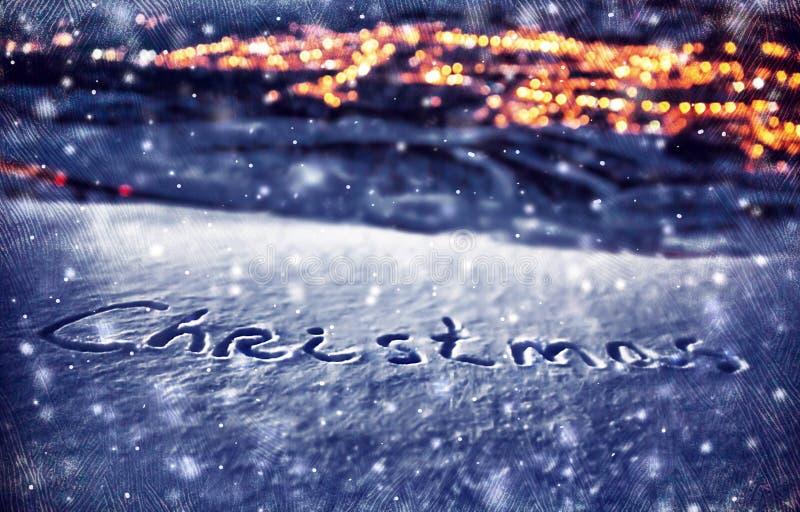 斯诺伊圣诞节背景 免版税库存照片