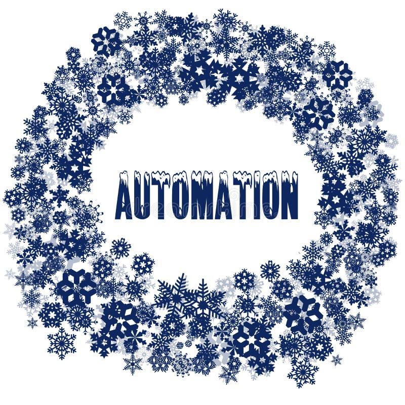 斯诺伊在雪花框架的自动化文本 皇族释放例证