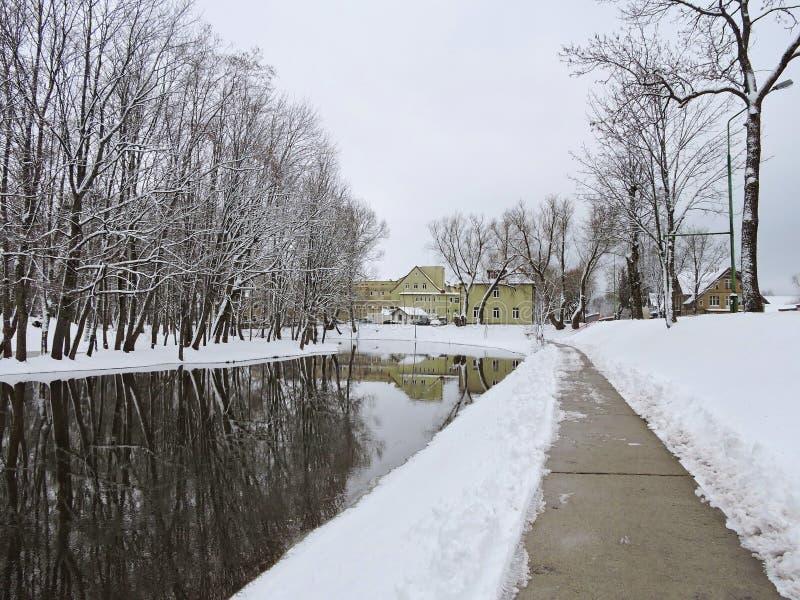 斯诺伊树、房子和道路,立陶宛 免版税图库摄影
