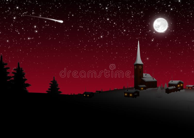 斯诺伊红色的平安夜的古雅芒廷村- 向量例证
