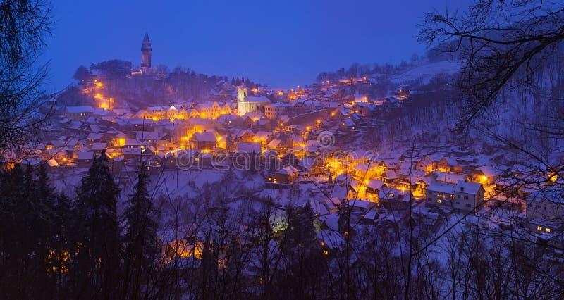 斯诺伊被点燃的城镇的夜间视图 免版税库存图片