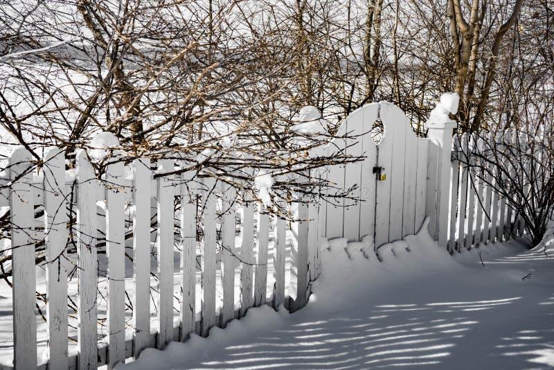 斯诺伊隐蔽的白色篱芭和门在冬景花园 库存照片