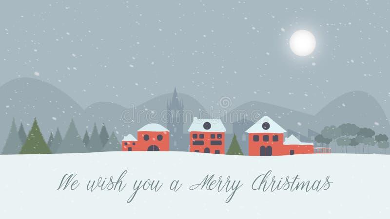 斯诺伊风景我们祝愿您圣诞快乐! 皇族释放例证